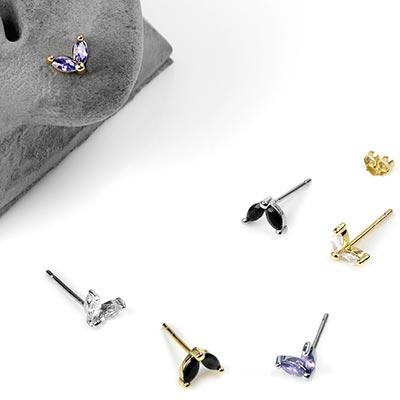 Little Sprout Gemmed Stud Earrings