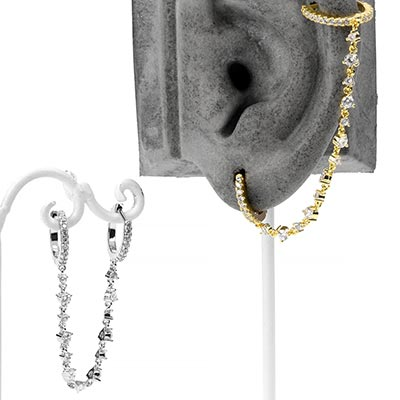 Dual Huggie Earring with Gemmed Chain