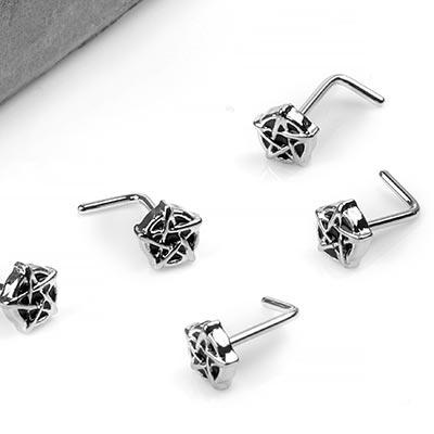 Steel Pentagram Straight Nosescrew