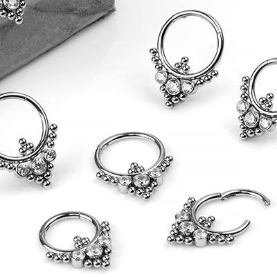 Steel Royal Gem Clicker Ring