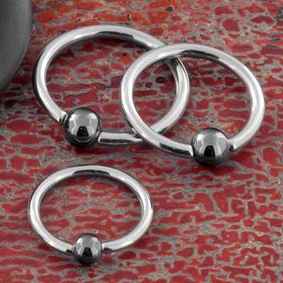 Steel Captive Bead Ring with Hematite Bead