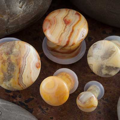 Single flare crazy lace agate stone plugs