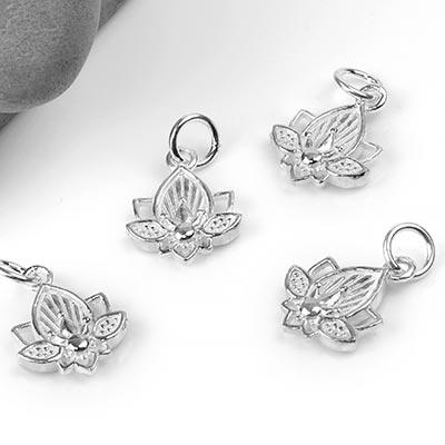 Silver Lotus Charm Pendant