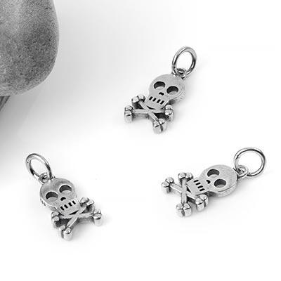 Silver Skull and Crossbones Charm Pendant