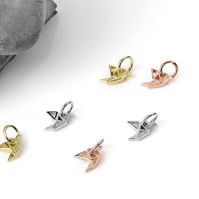Silver Origami Crane Charm
