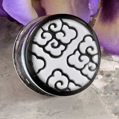 White On Black Tibetan Cloud Plugs