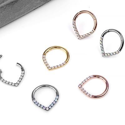 Steel Point Gemmed Clicker Ring