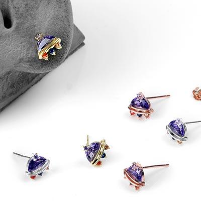 Gemmed UFO Stud Earrings