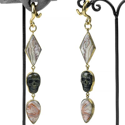 Solid Brass and Agate with Golden Obsidian Skull Weights