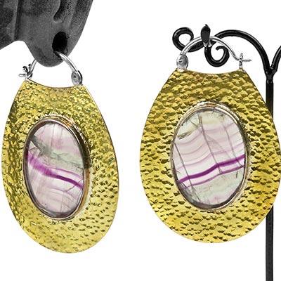 Hammered Brass Moonshine Design with Fluorite