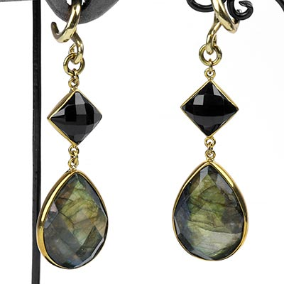 Solid Brass with Faceted Black Agate and Faceted Labradorite Weights