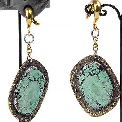 Solid Brass and Silver Free Form Turquoise Weights