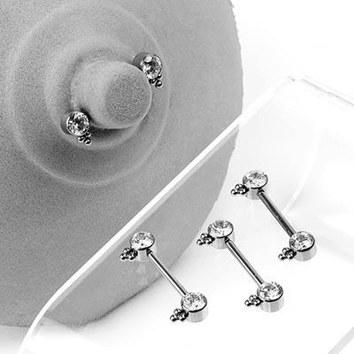 Titanium Forward Facing Threadless Three-Bead Gem Barbell