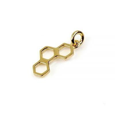 14K Gold Honeycomb Charm