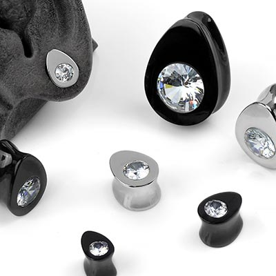 Solid Steel Gem Teardrop Plugs