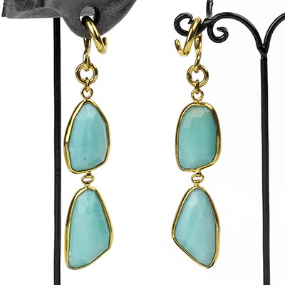 Solid Brass and Faceted Amazonite Weights