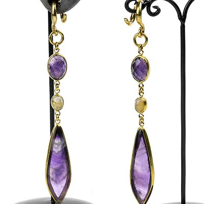 Solid Brass and Amethyst with Rutilated Quartz Weights