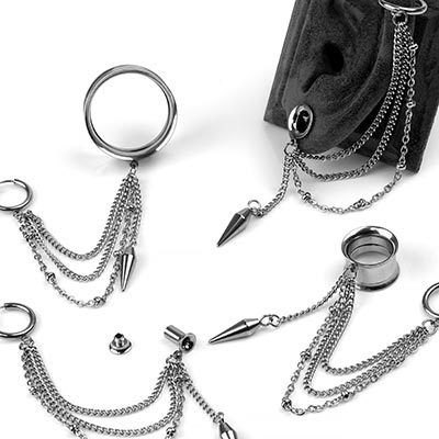 Steel Eyelets with Cuff and Dangle Spike