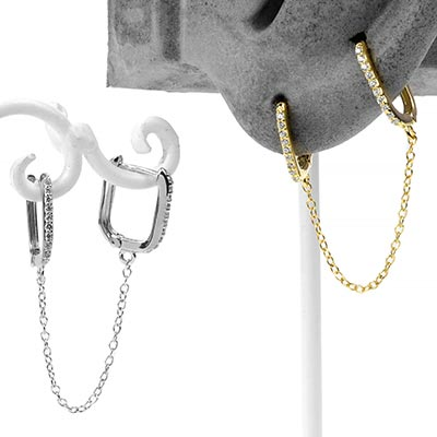 Gemmed Rectangle Huggies Earring with Chain