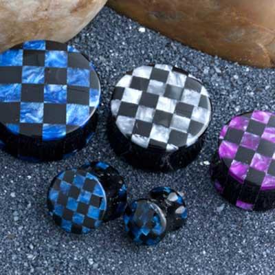Acrylic Pearlized Swirl Checkerboard Plugs