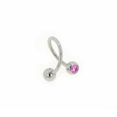 PRE-ORDER Titanium Twister Barbell with Gemmed Balls