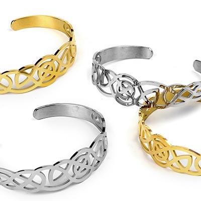 Steel Celtic Knot Cuff Bracelet