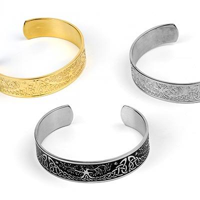 Steel Celtic Tree of Life Cuff Bracelet