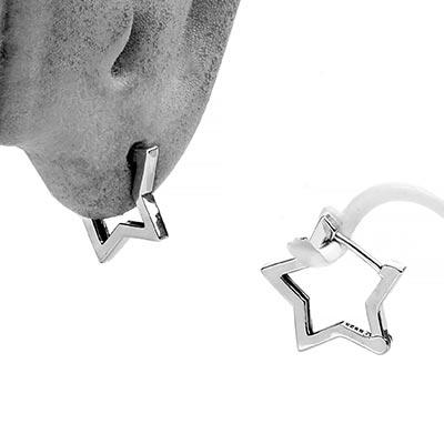 Sterling Silver Star Huggie Earrings