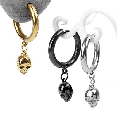Steel Skull Dangle Huggie Earring