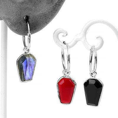 Silver Coffin Huggie Earrings