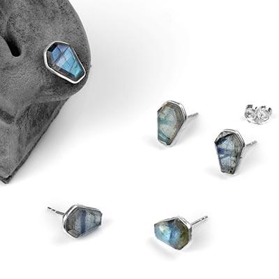 Silver Labradorite Coffin Stud Earrings