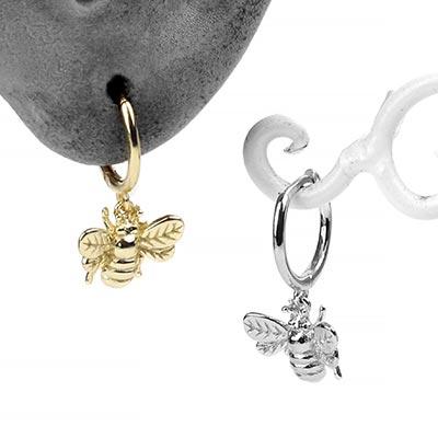 Sliver Bee Huggie Earring
