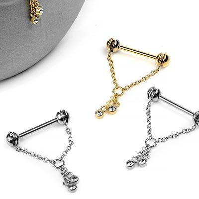 Steel Chain Drop Nipple Dangle Barbell