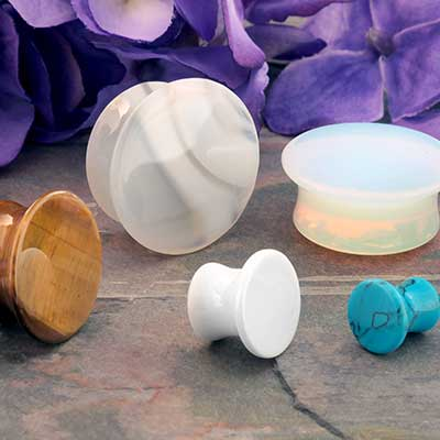 Mayan Flare Stone and Glass Plugs