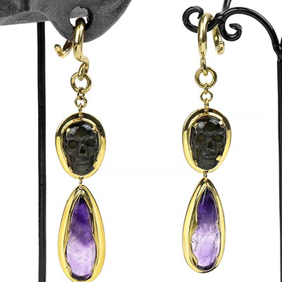 Solid Brass and Golden Obsidian Skull Dangle Weights with Amethyst