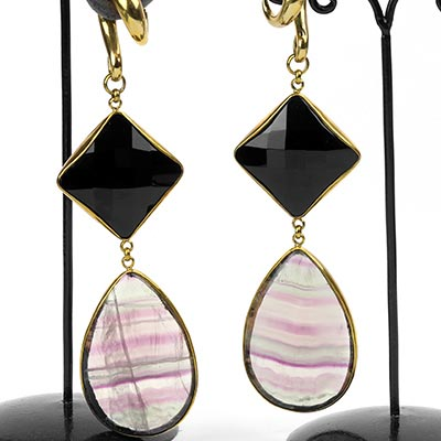 Solid Brass with Faceted Black Agate and Fluorite Dangle Weights