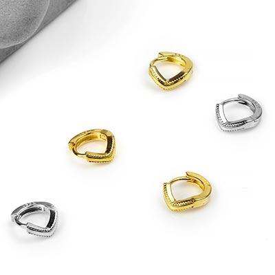 Silver Mini Point Huggie Earring