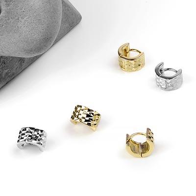 Silver Mini Diamond Cut Texture Huggie Earring