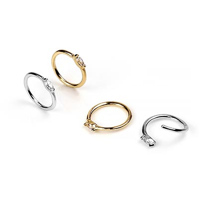 14K Gold Zuri Seamless Ring with Side Set Clear CZ Gems
