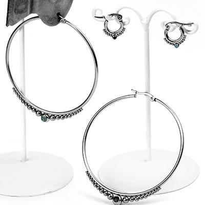 Steel Stone-Set Beaded Hoop Earrings
