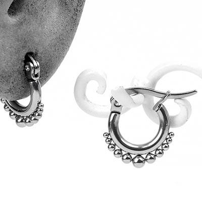 Steel Beaded Hoop Earrings