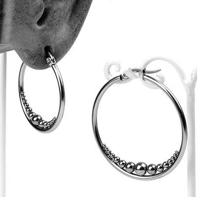 Steel Inner Beaded Hoop Earrings
