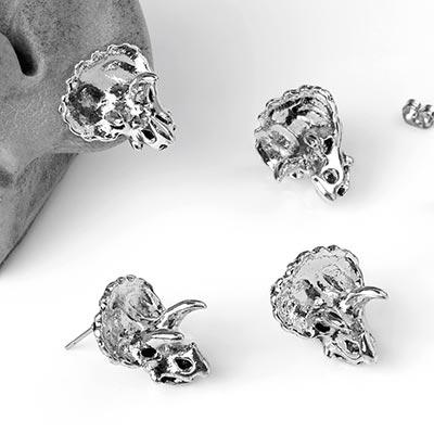 Steel Triceratops Stud Earrings