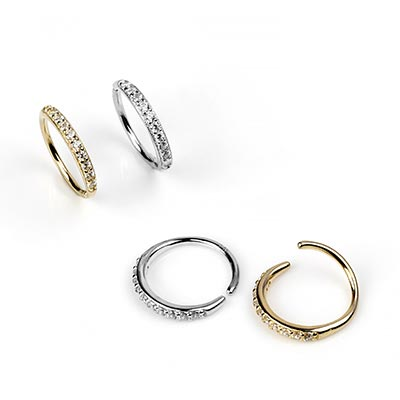 14K Gold Seamless Rings with Paved CZ Gems