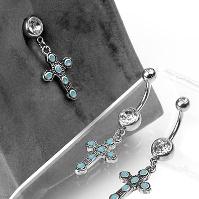 Steel and Gothic Turquoise Cross Navel