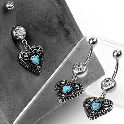 Steel and Antique Turquoise Heart Navel