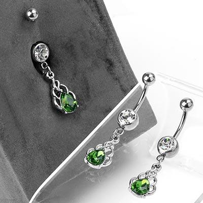 Steel Emerald Flame Dangle Navel