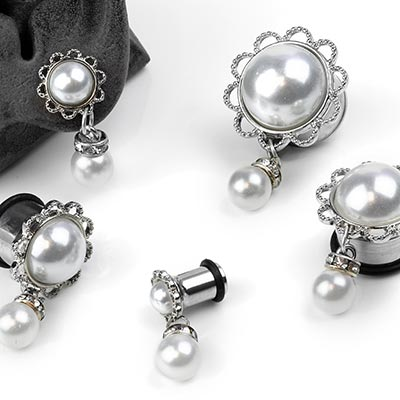 Single Flare Steel and Faux Pearl Dangle Eyelets