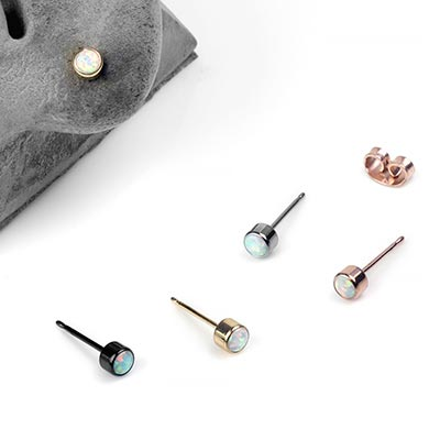 Titanium Bezel Set Opal Stud Earrings