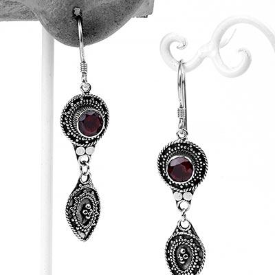 Silver and Garnet Dangle Drop Earrings